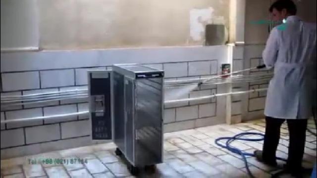 شستشوی محفظه حمل غذا با واترجت  - Wash the carriage of food with high pressure washer
