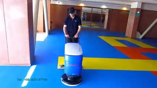 شستشوی کف سالن های ورزشی با اسکرابر  - washing floor of sports halls by scrubbers
