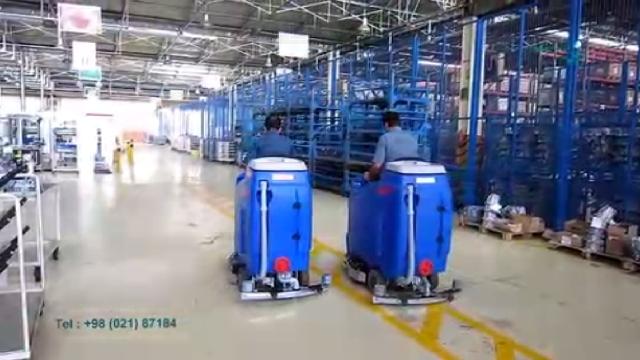 نظافت کارخانه تولید قطعات خودرو با اسکرابر  - Cleaning of car parts manufacturer with scrubber