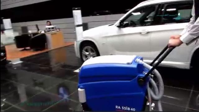 کفشوی دستی و کاربرد آن در شستشوی کف نمایشگاه اتومبیل  - walk-behind scrubber dryer - cleaning the floor