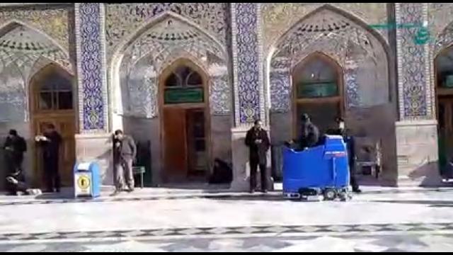 نظافت حرم و اماکن مذهبی با اسکرابر  - Cleaning temples and religious places with scrubbers