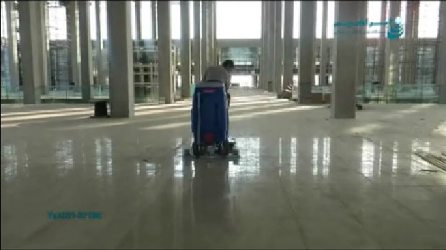 نظافت اولیه سطوح با اسکرابر  - Primary cleaning of surfaces with scrubbers
