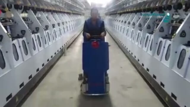 نظافت سالن تولید در صنایع نساجی با اسکرابر  - textile production hall cleaning with scrubber