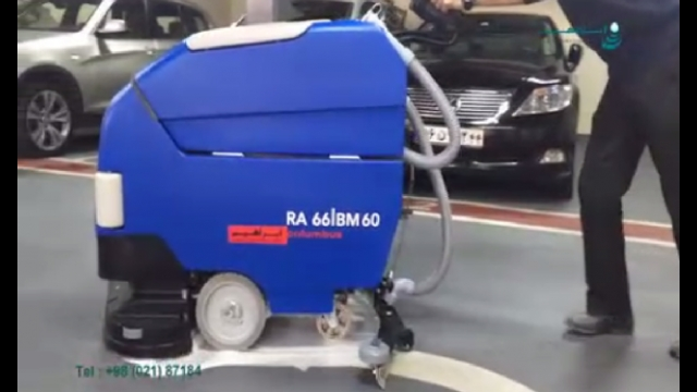 نظافت کف پارکینگ با دستگاه اسکرابر  - Parking floor cleaning with scrubber machine