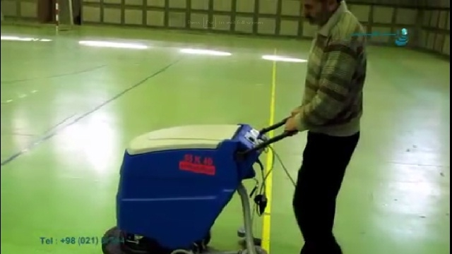 نظافت سالن فوتسال با اسکرابر صنعتی  -  cleaning futsal area with scrubber