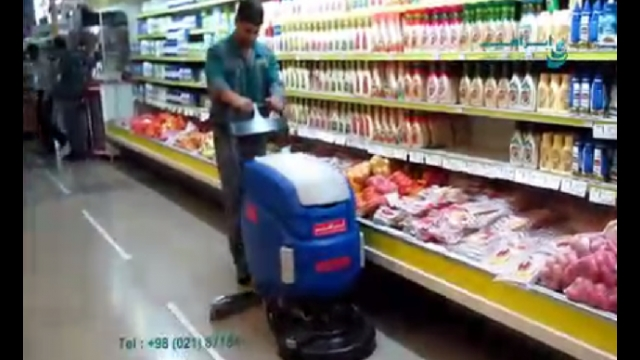 نظافت فروشگاه و هایپر با اسکرابر  - store cleaning with scrubber dryer