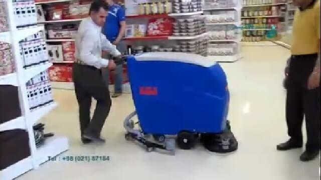 شستشوی سطوح کف فروشگاه با اسکرابر  - Wash Shop Floor Surfaces with Scrubber