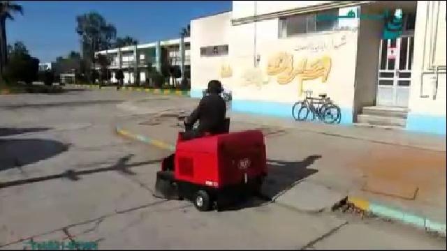 نظافت محوطه با سوییپر خودرویی  - Cleaning outer space with ride on sweeper