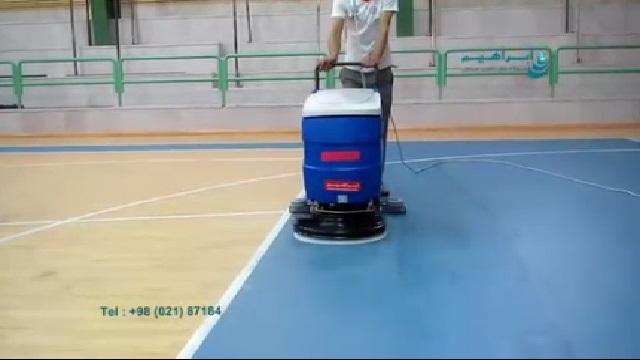 شستشوی سالن فوتسال با اسکرابر  - Indoor soccer hall cleaning with scrubber
