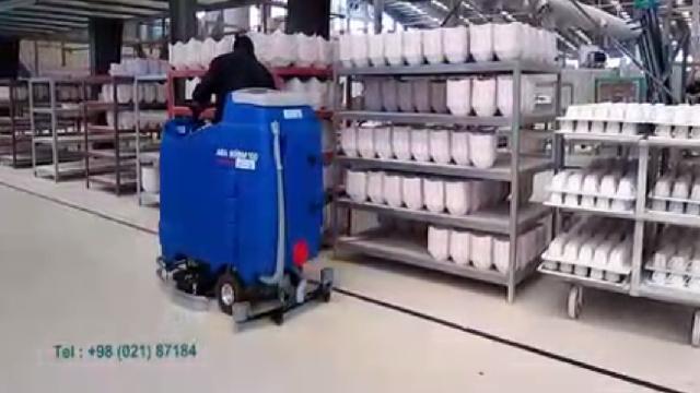 نظافت انبار چینی و سرامیک با اسکرابر  - ceramic warehouse cleaning with scrubber