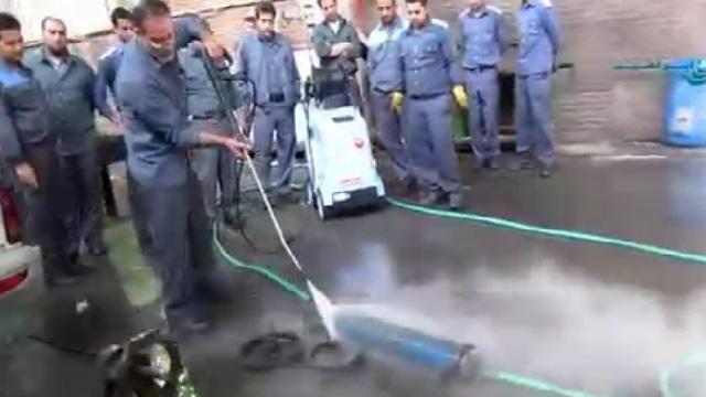 واترجت آب گرم و شستشوی تجهیزات صنعتی  - hot water high pressure washer and washing industrial equipment