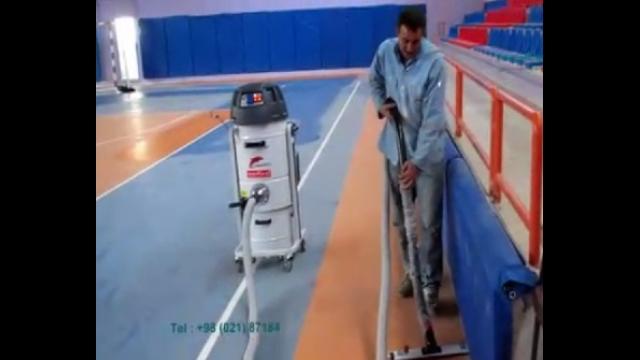 نظافت سالن های ورزشی بوسیله جاروبرقی نیمه صنعتی  -  cleaning the sports halls by industrial vacuum