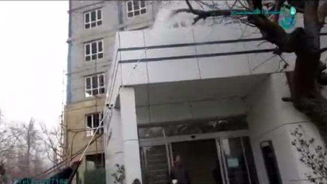 شستن نمای بیرونی ساختمان با واترجت صنعتی  - facade cleaning by pressure washer