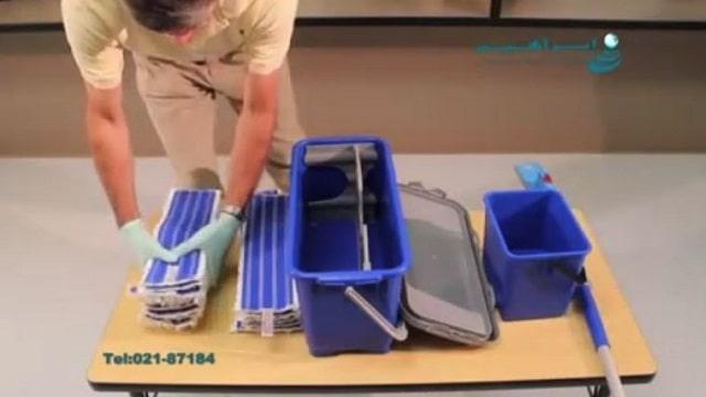 پد های مختلف و تجهیزات جانبی ترولی نظافتی  - microfiber mop cleaning equipment trolley