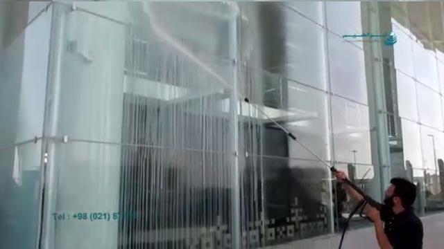 شستشوی نمای شیشه ای با دستگاه واترجت  - cleaning glass facade with high pressure cleaning