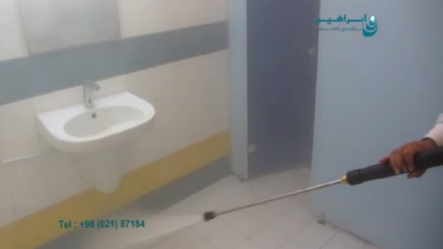 شستشوی سرویس بهداشتی با واترجت صنعتی  - cleaning the toilet by pressure washer