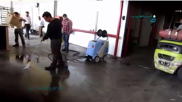 شستشوی هم زمان محیط صنعتی و ماشین آلات آن با واترجت  - cleaning industrial environment and machines high pressure