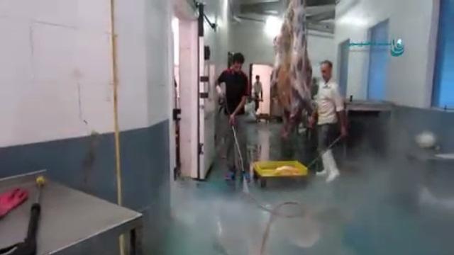 شستشوی و نظافت کشتارگاه با واترجت  -  pressure washer - cleaning slaughterhouse