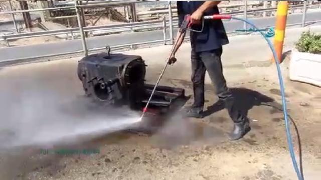 کاربرد واترجت صنعتی فوق فشار قوی برای شستشوی قطعات  - high Pressure washer usage for cleaning parts