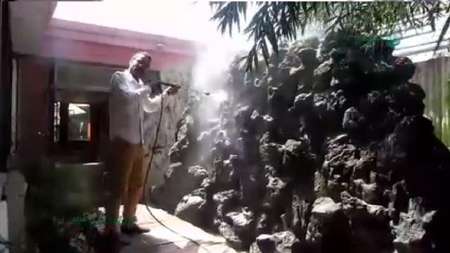 شستشوی باغ با واترجت صنعتی  -  garden cleaning with industrial high pressure washer