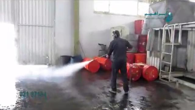 نظافت محیط در مراکز صنعتی با واترجت صنعتی  - Environmental cleanup with high pressure washer