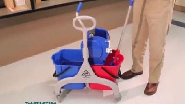 ترولی سطل و تی و نظافت و شستشوی بهداشتی  - Trolley bucket mop cleaning sanitizing rinse