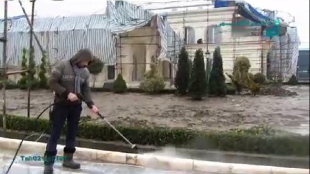 شستشوی جدول خیابان با واترجت صنعتی  - cleaning curb with high pressure washer