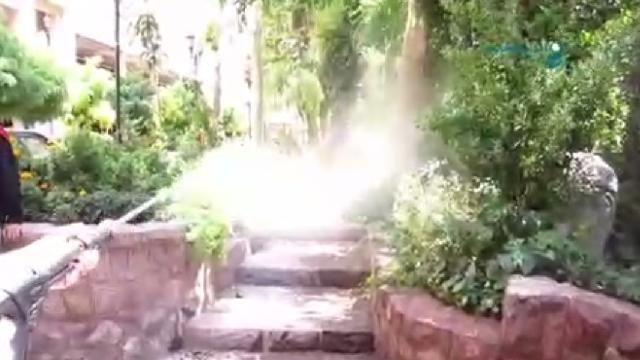 نظافت حیاط و باغ با کارواش خانگی  - Cleaning garden consumer - pressure washer