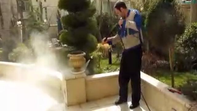 شستشوی حیاط با واترجت  - Cleaning yard - high pressure cleaner