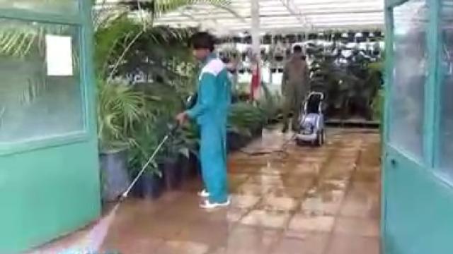 شستشوی گلخانه با واترجت  - Greenhouse-cleaning-high-pressure washer