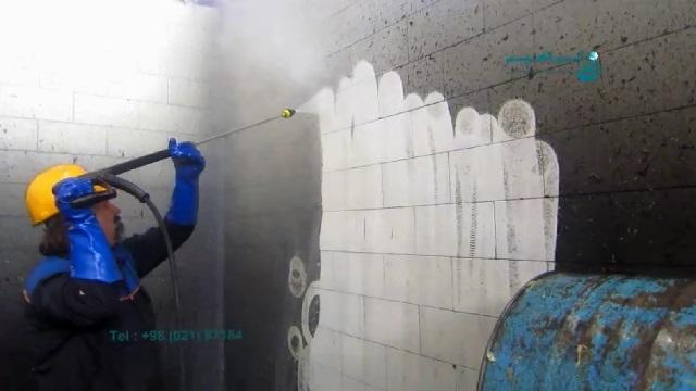از بین بردن آلودگی های روغنی در صنایع فولاد بوسیله واترجت  - removing the oil dirt  in the steel Industries by pressure washer