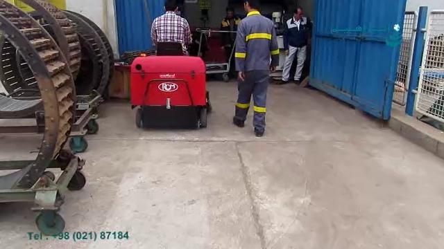 نظافت محوطه انبار و کارخانه با سوییپر سرنشین دار  - Cleaning the warehouse area and the factory with sweeper