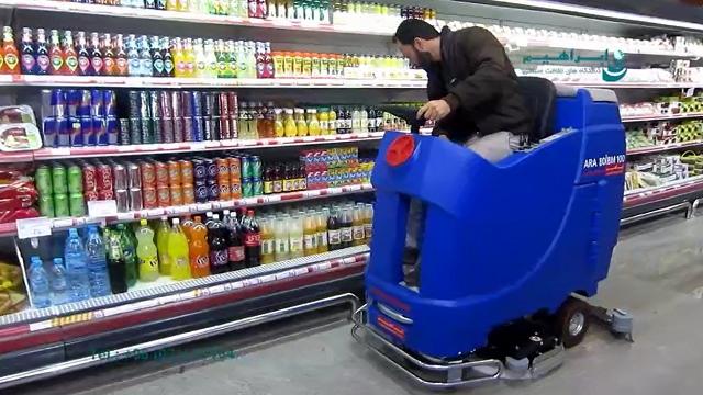 شستشوی فروشگاه های بزرگ با اسکرابر صنعتی  - Washing large stores with industrial scrubbers