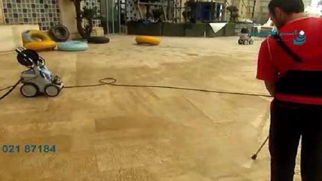از بین بردن جرم سطوح کف محوطه استخرها با واترجت صنعتی  - Eliminating the mass levels of floor surfaces of the pools with industrial waterjets