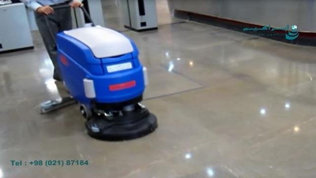 سرعت و سهولت در انجام شستشوی کف اماکن عمومی با اسکرابر  - Speed and ease of cleaning the floor with a scrubber