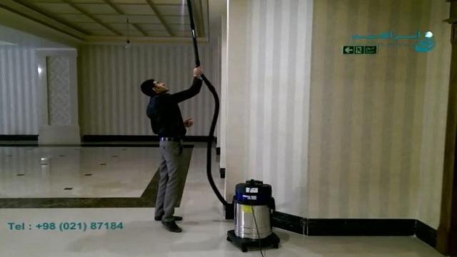 حذف گرد و غبار از دیوارها و سقف با استفاده از جاروبرقی   - Remove dust from walls and ceilings using a vacuum cleaner