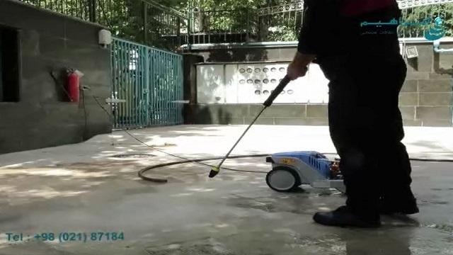 شستشوی کفپوش های سنگی با واترجت صنعتی  - Wash the stone floor with a high pressure washer