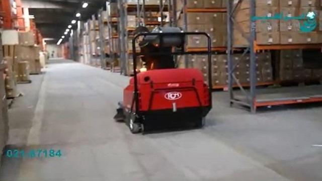 نظافت محوطه وسیع انبار با سوییپر خودرویی  - Cleaning the wide area of the warehouse with Sweeper