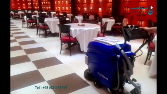 استفاده از کفشوی مجهز به موتور جلوبرنده در هتل  - scrubber with traction motor - hotel