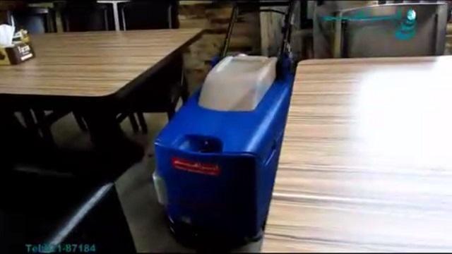 استفاده از اسکرابر دستی جهت شستشوی کف رستوران  - Use of walk-behind scrubber to wash the floor of Restaurant
