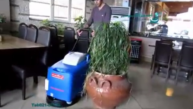 کفشوی سالن رستوران  - cleaning the floor of the restaurant - scrubber dryer