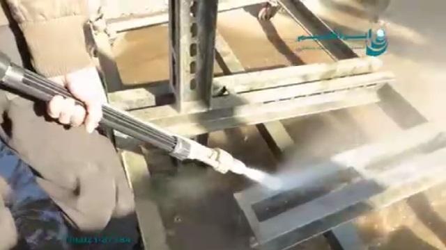 کاربرد واترجت صنعتی با نازل سندبلاست برای لایه برداری فلزات  - use a pressure washer with sand=blasting nozzle