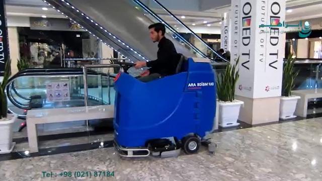 نظافت و جلابخشی پاساژ با اسکرابر  - Cleaning the passage with a ride on scrubber