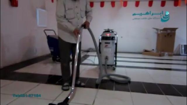 جمع آوری آب و خاک با جاروبرقی نیمه صنعتی  - Water and soil collected by semi-industrial vacuum cleaners
