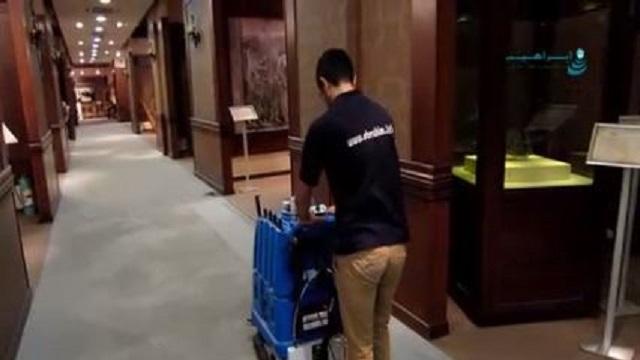 شستشوی موکت راهرو هتل  - Hotel hallway carpet cleaning