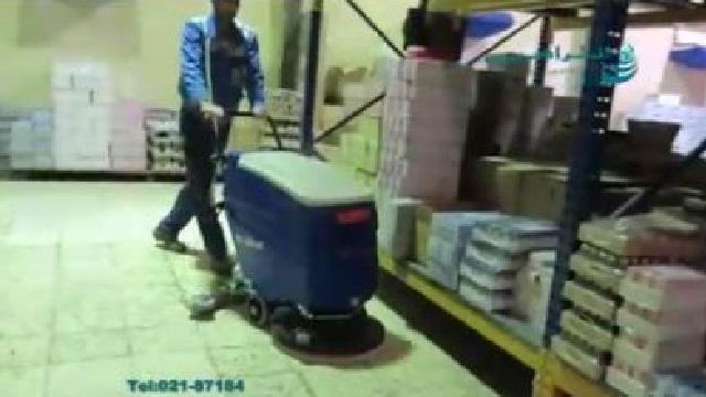 استفاده از اسکرابر در نظافت انبار مواد غذایی  - scrubber cleaning food repository