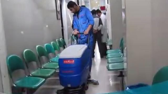 نظافت مراکز درمانی و بیمارستان با اسکرابر  - Cleaning hospitals with scrubbers