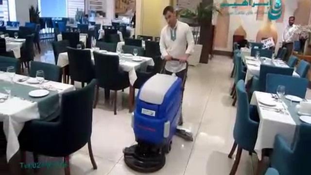 شستشوی سطوح رستوران با اسکرابر  - Wash Restaurant Surfaces with Scrubber