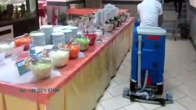 نظافت سالن غذا خوری با اسکرابر  - Dining Room cleaning with scrubber