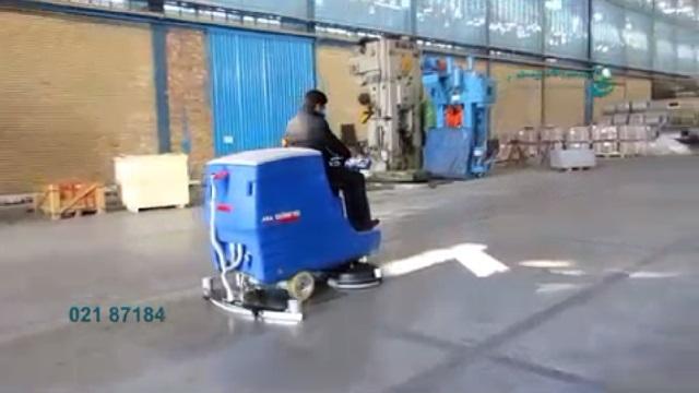شستشوی انبار تجهیزات با اسکرابر خودرویی  - use a ride-on scrubber for cleaning the warehouses
